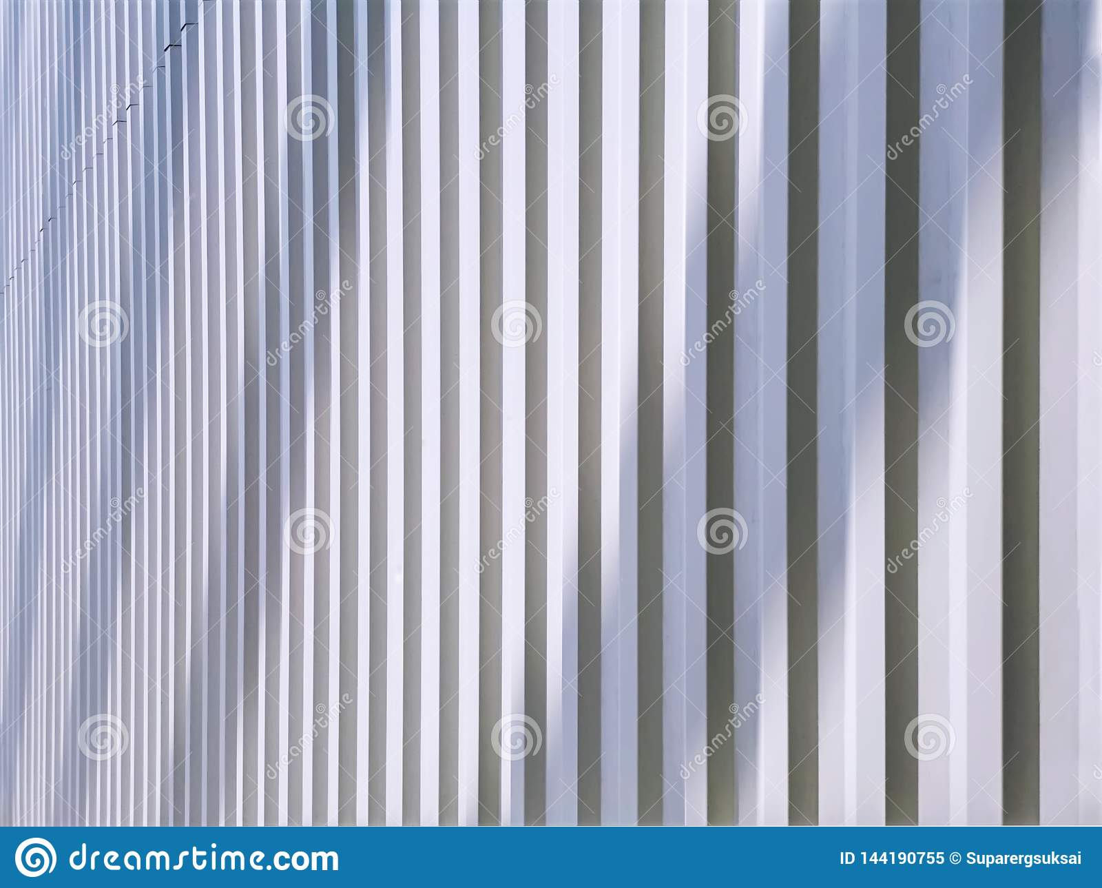 Background Of Perspective White Corrugated Wall With Light