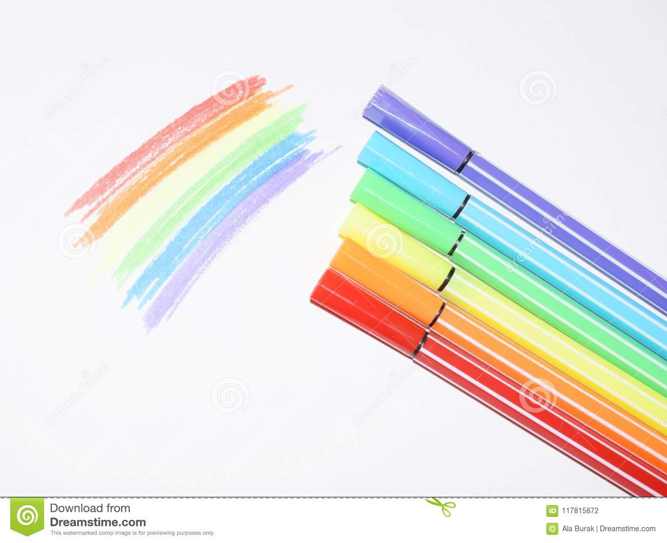 A Photo Of A Rainbow Painted With Colored Felt Tip Pens Symbols Of