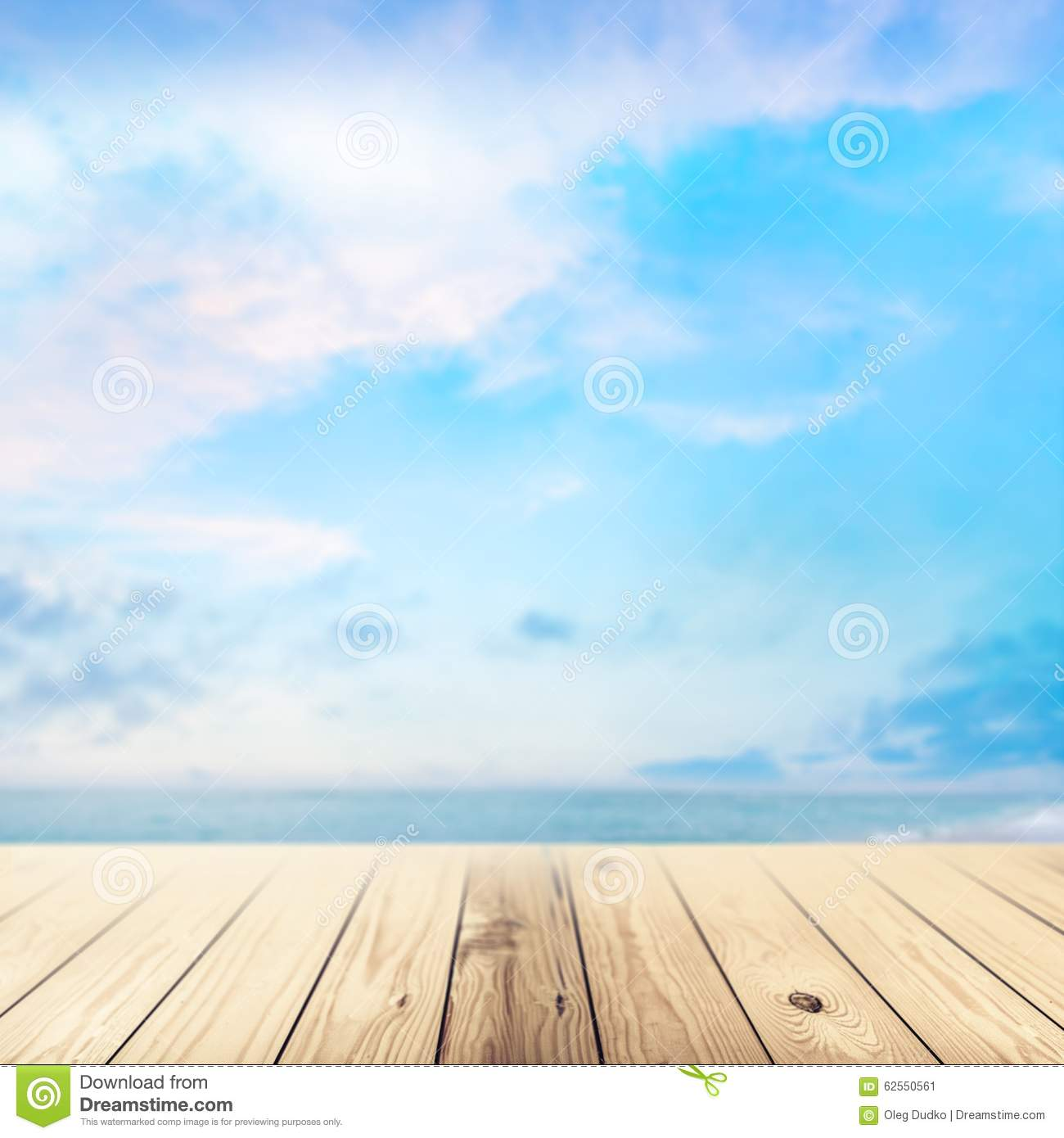 Wood Floor On Beach Sea And Blue Sky For Background Stock: Background Stock Image. Image Of Cloud, Water, Relax