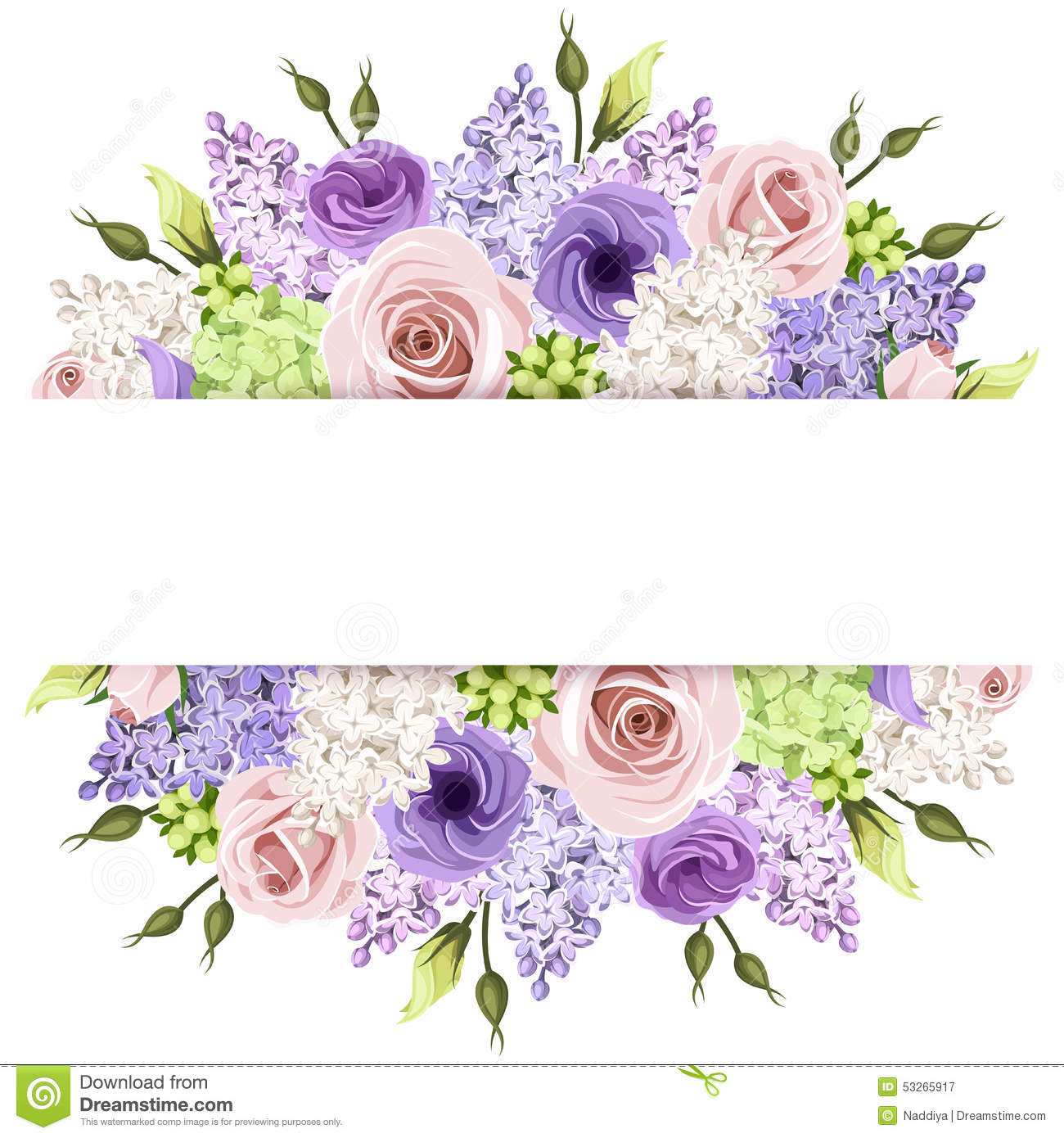 Background With Pink, Purple And White Roses And Lilac