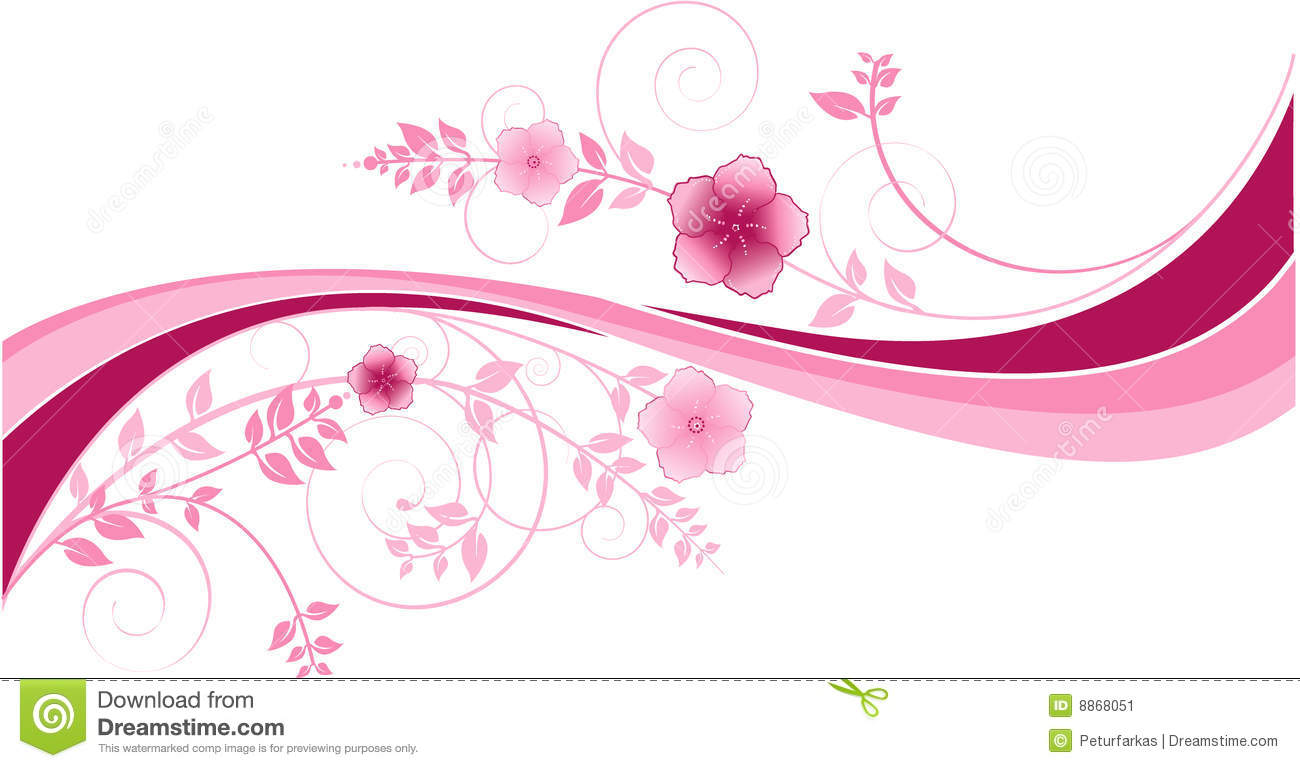 Background with pink waves and floral motives
