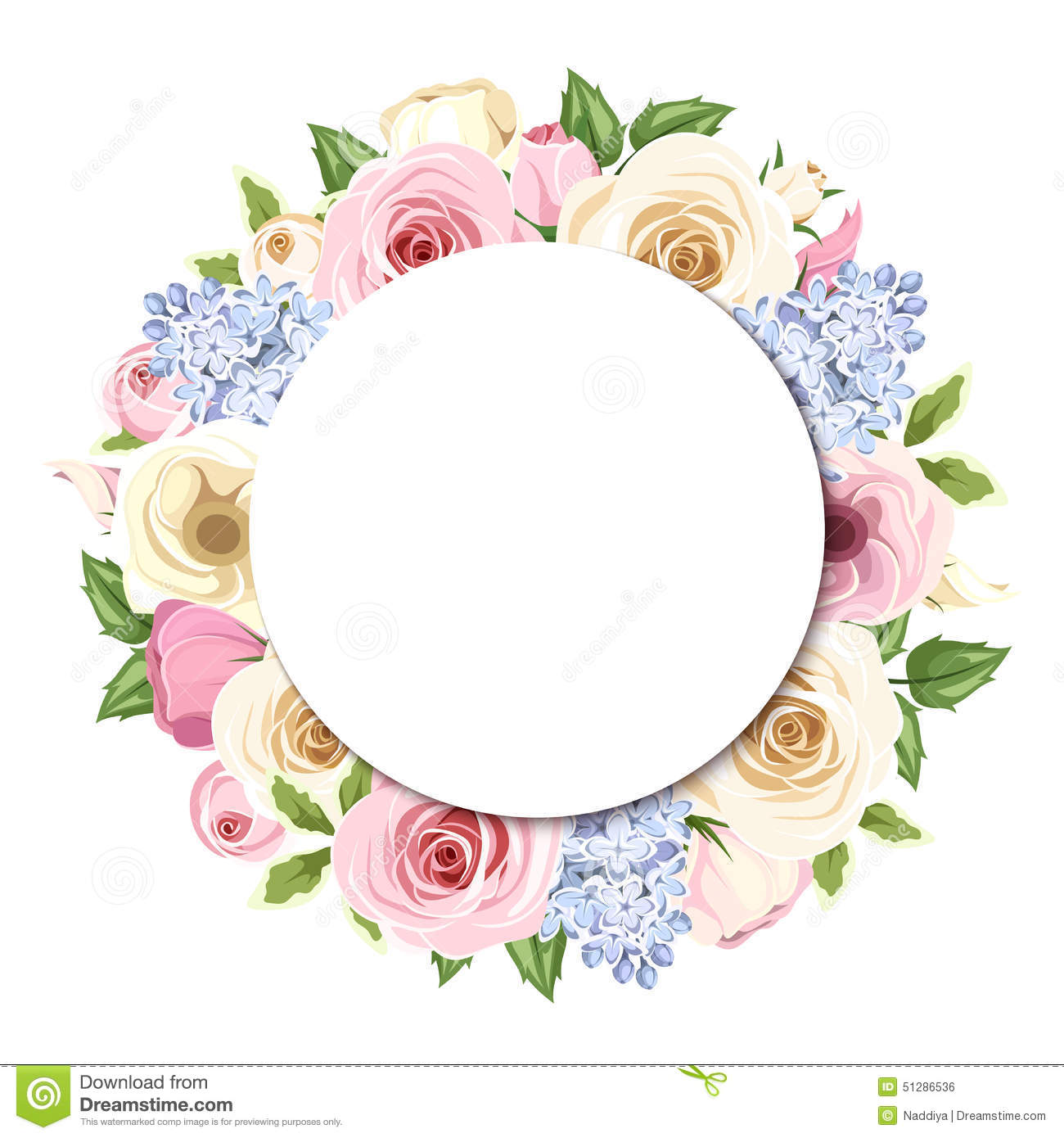 Background With Pink, White And Blue Roses, Lisianthus And