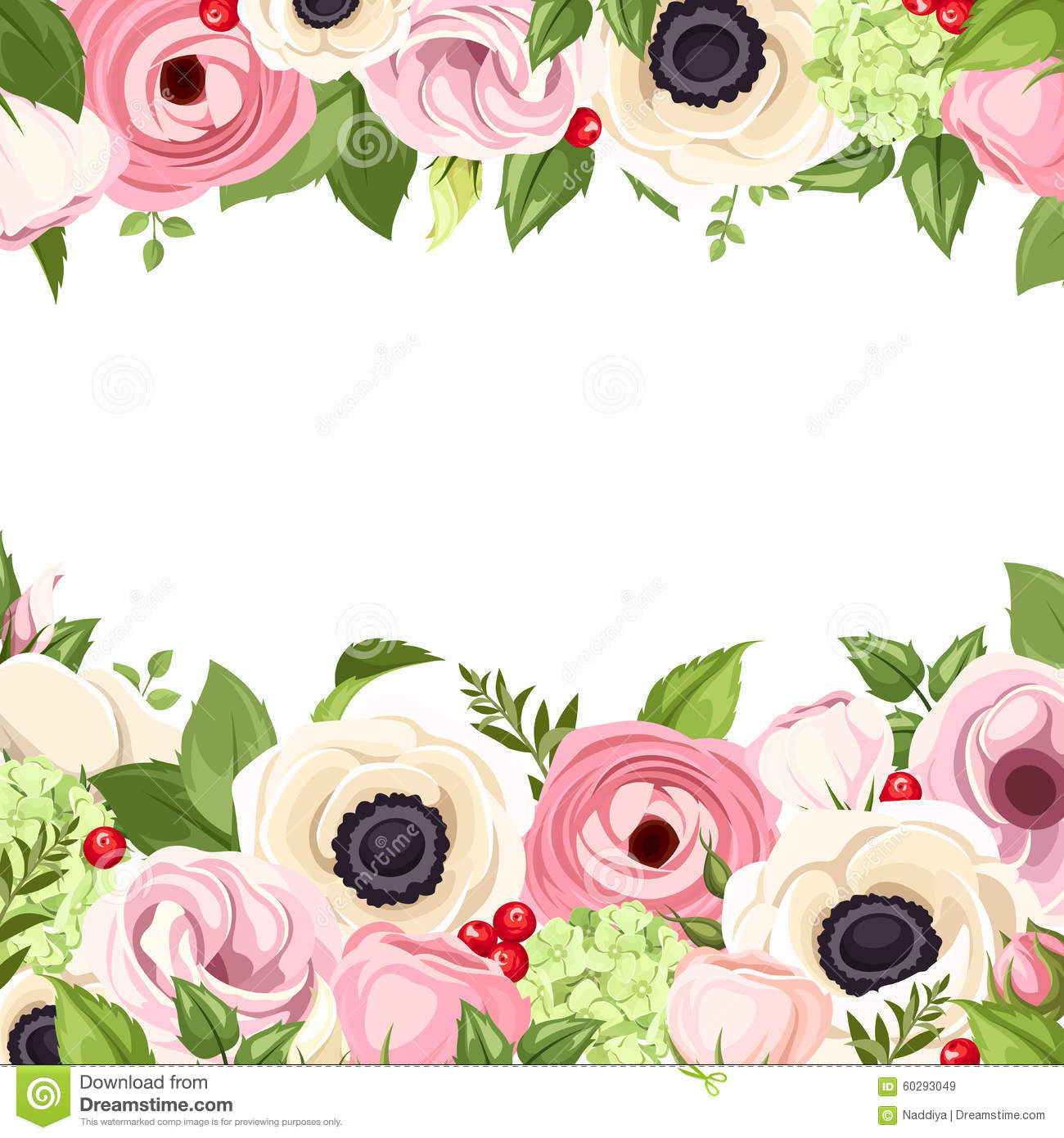 Background With Pink And White Flowers And Green Leaves Vector