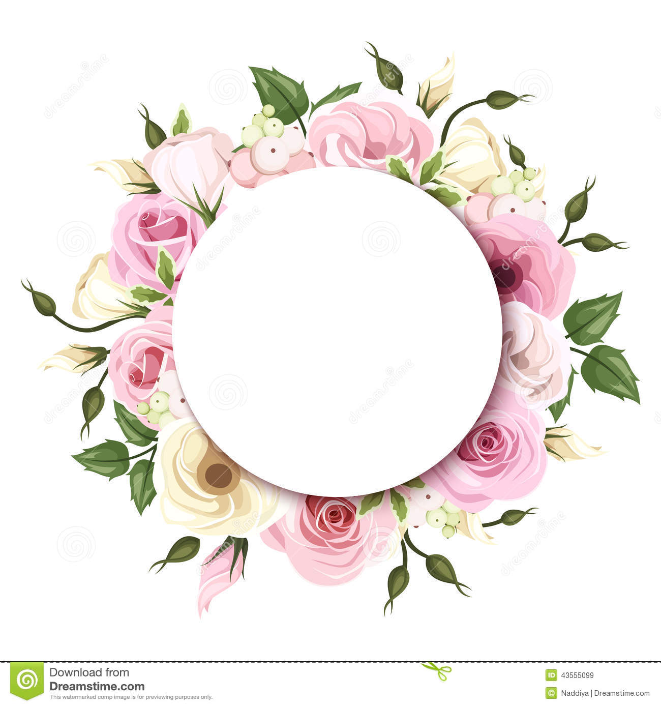 Background With Pink And White Roses And Lisianthus