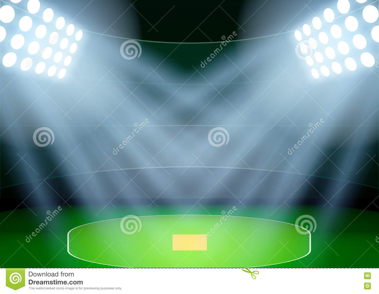Cricket Vector Background Stock Image: Background For Posters Night Cricket Stadium In The