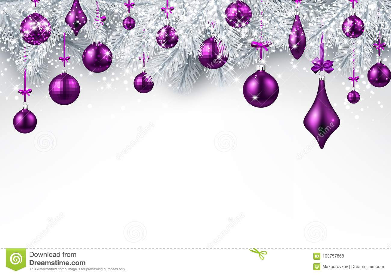 background with purple christmas ball