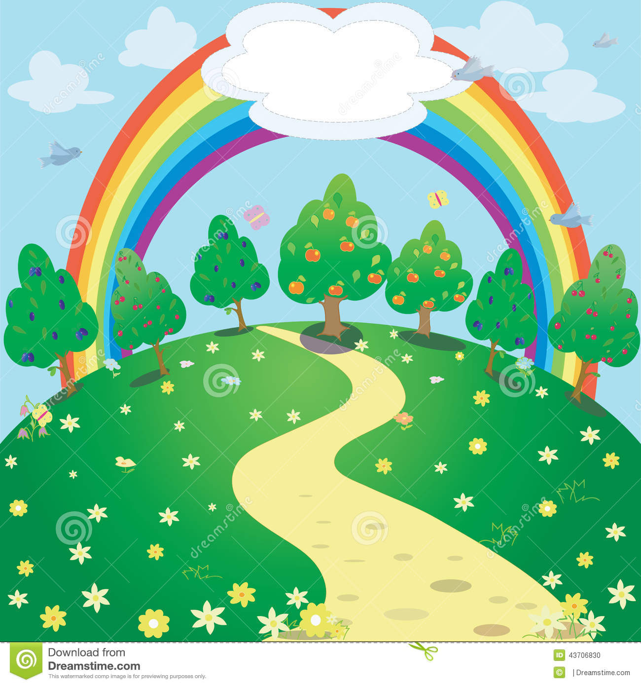 Download Background Of Rainbow And Garden Vector Fantasy Illustration Stock