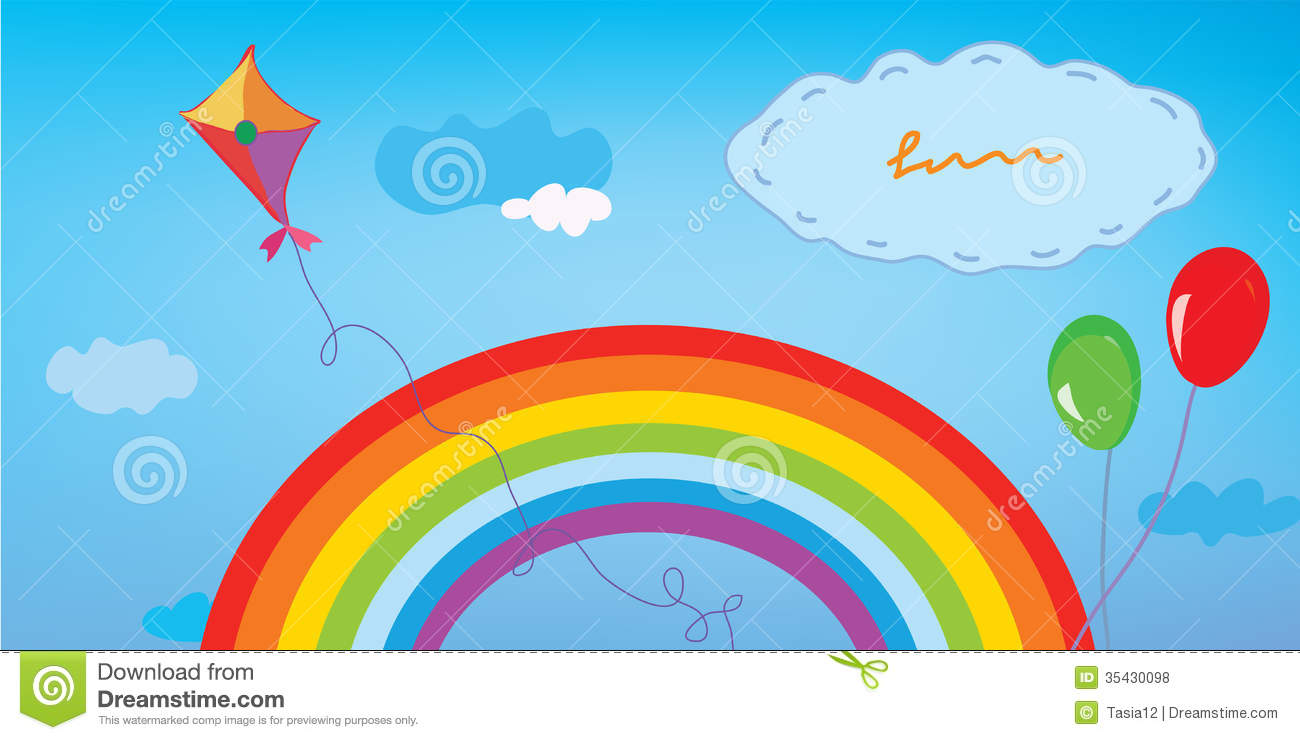 Background With Rainbow Sky Kite And Balloons Royalty