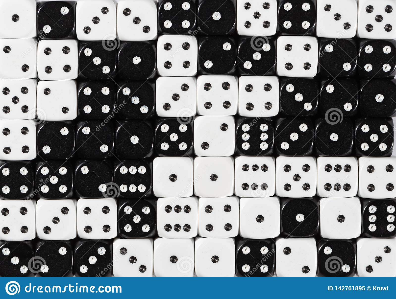 Background of 70 random ordered black and white dices