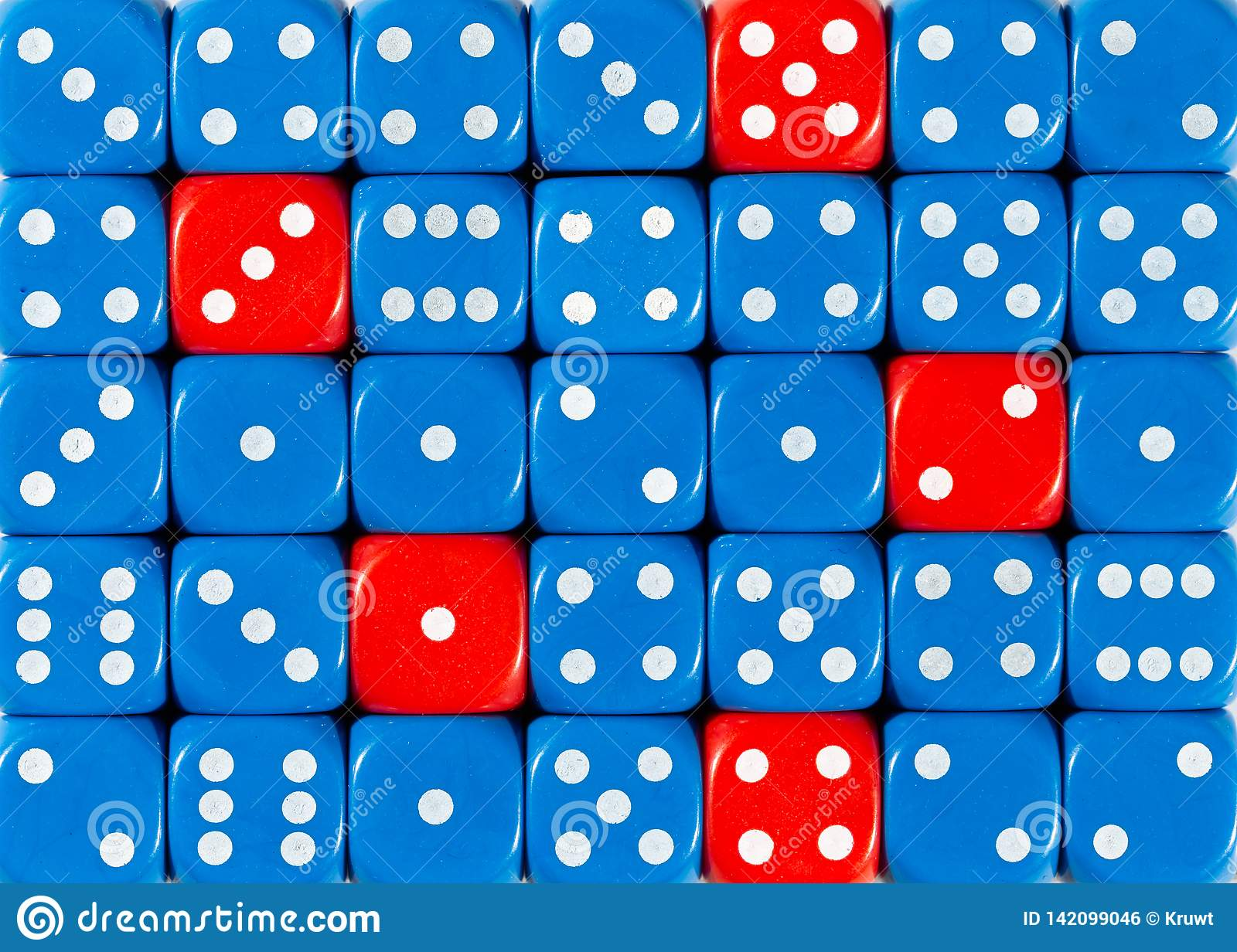 Background of random ordered blue dices with five red cubes