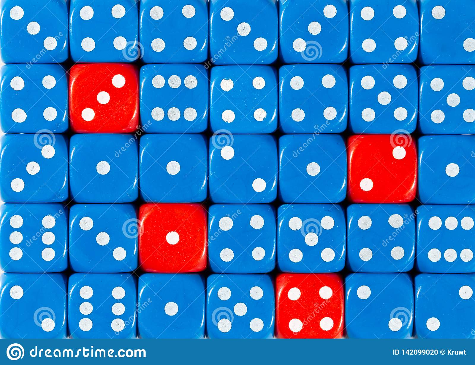 Background of random ordered blue dices with four red cubes