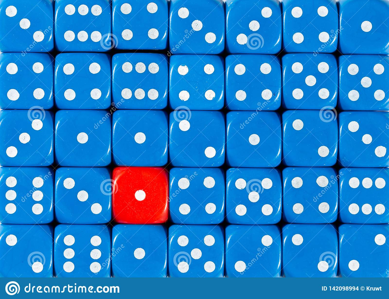 Background of random ordered blue dices with one red cube