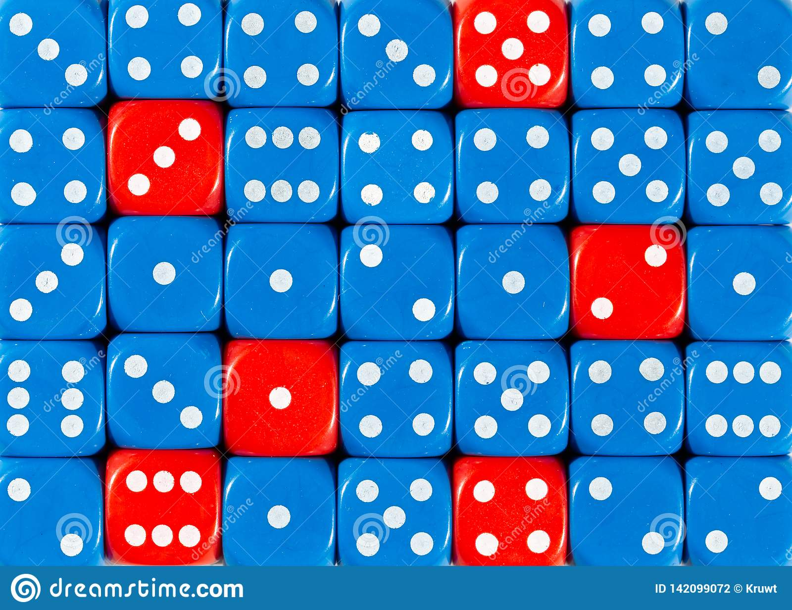 Background of random ordered blue dices with six red cubes