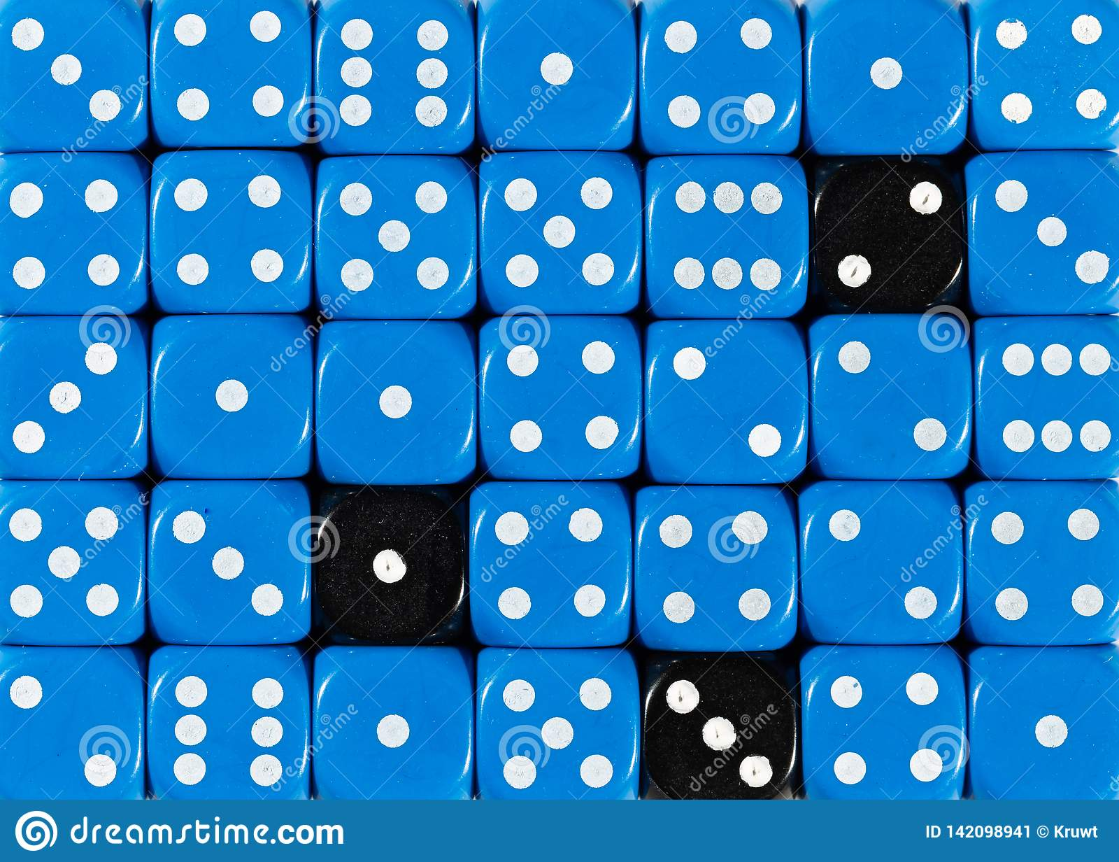 Background of random ordered blue dices with three black cubes
