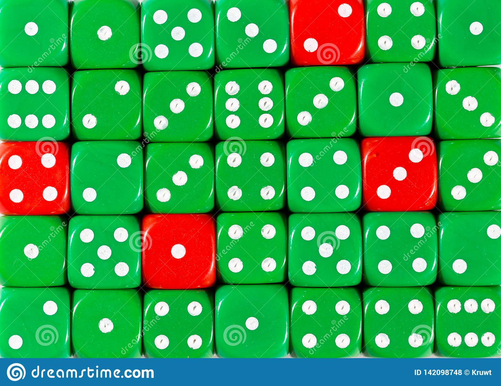 Background of random ordered green dices with four red cubes