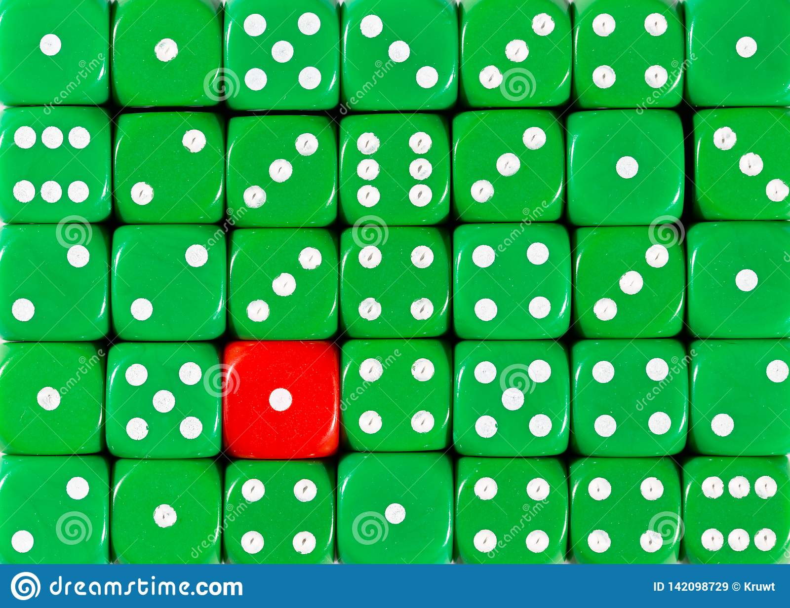 Background of random ordered green dices with one red cube