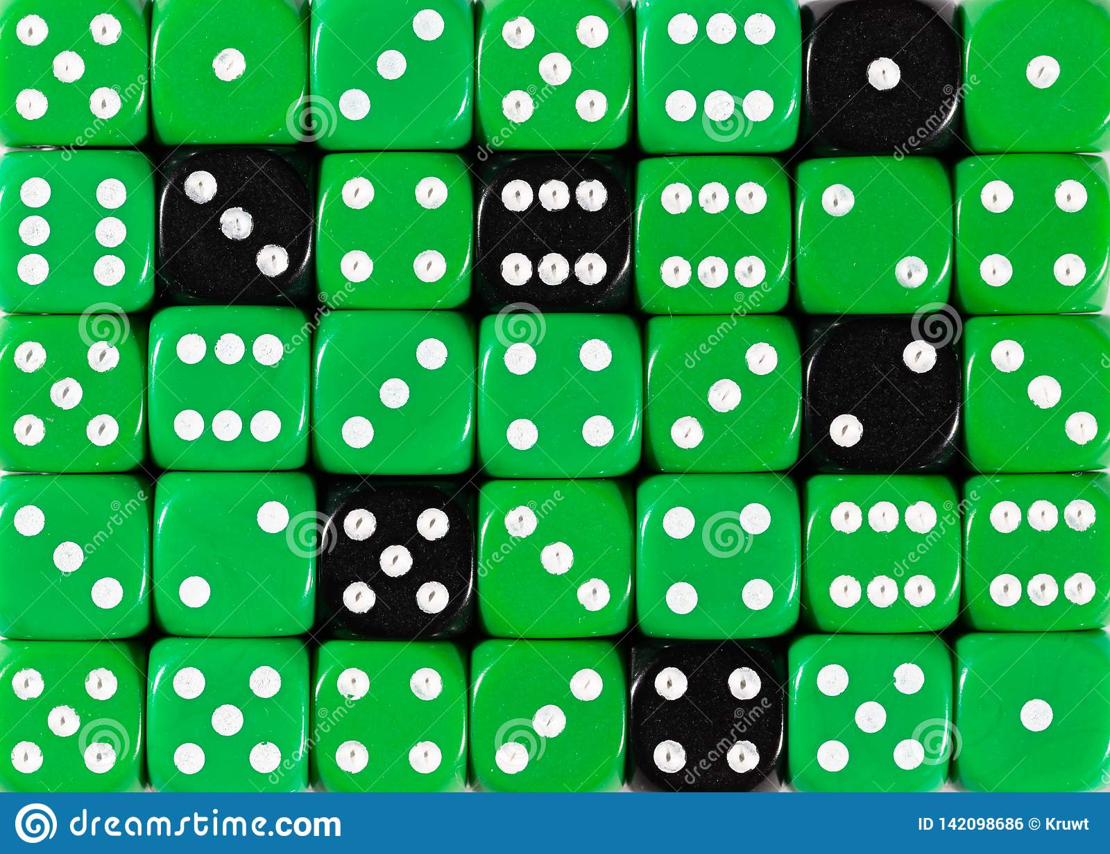 Background of random ordered green dices with six black cubes