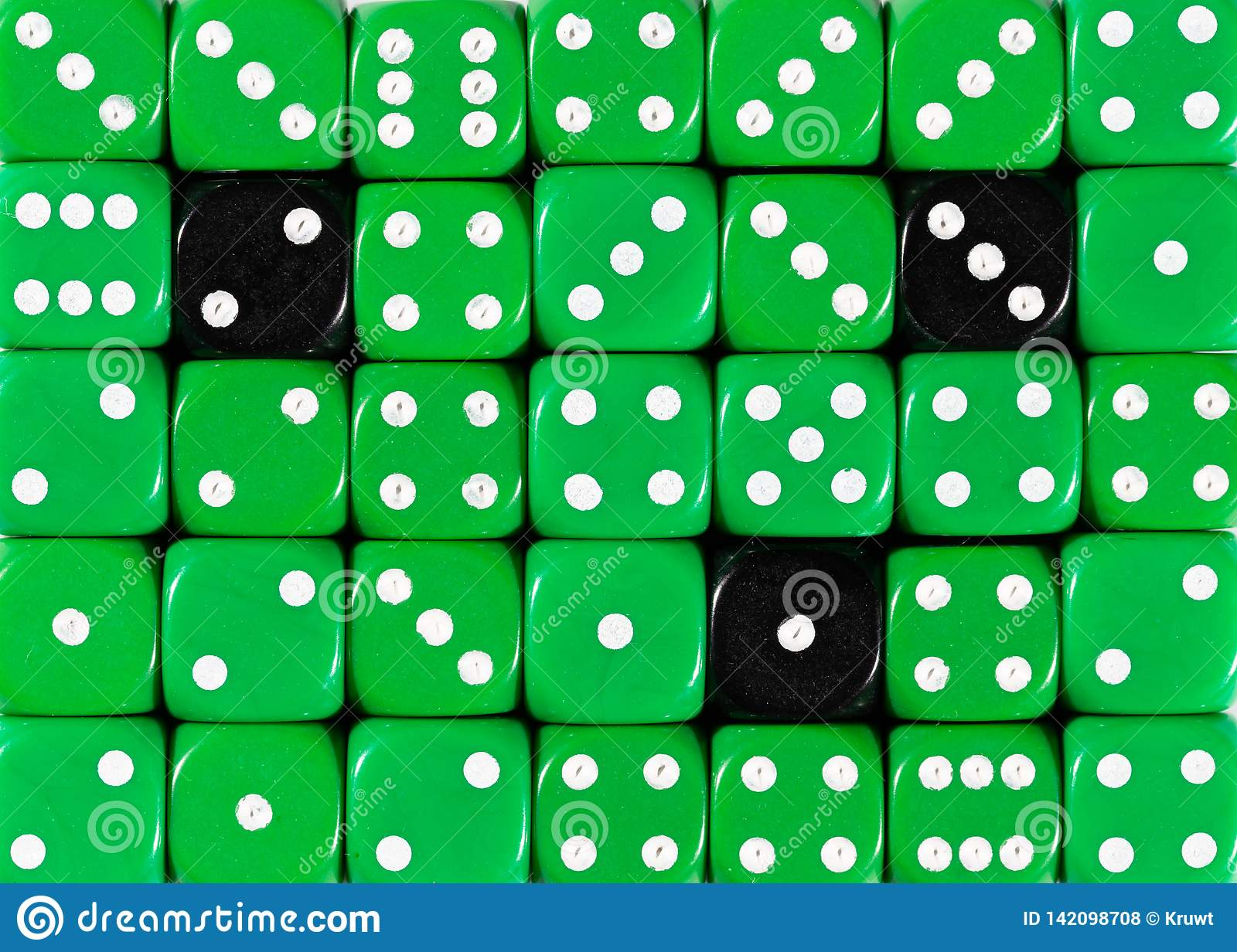 Background of random ordered green dices with three black cubes
