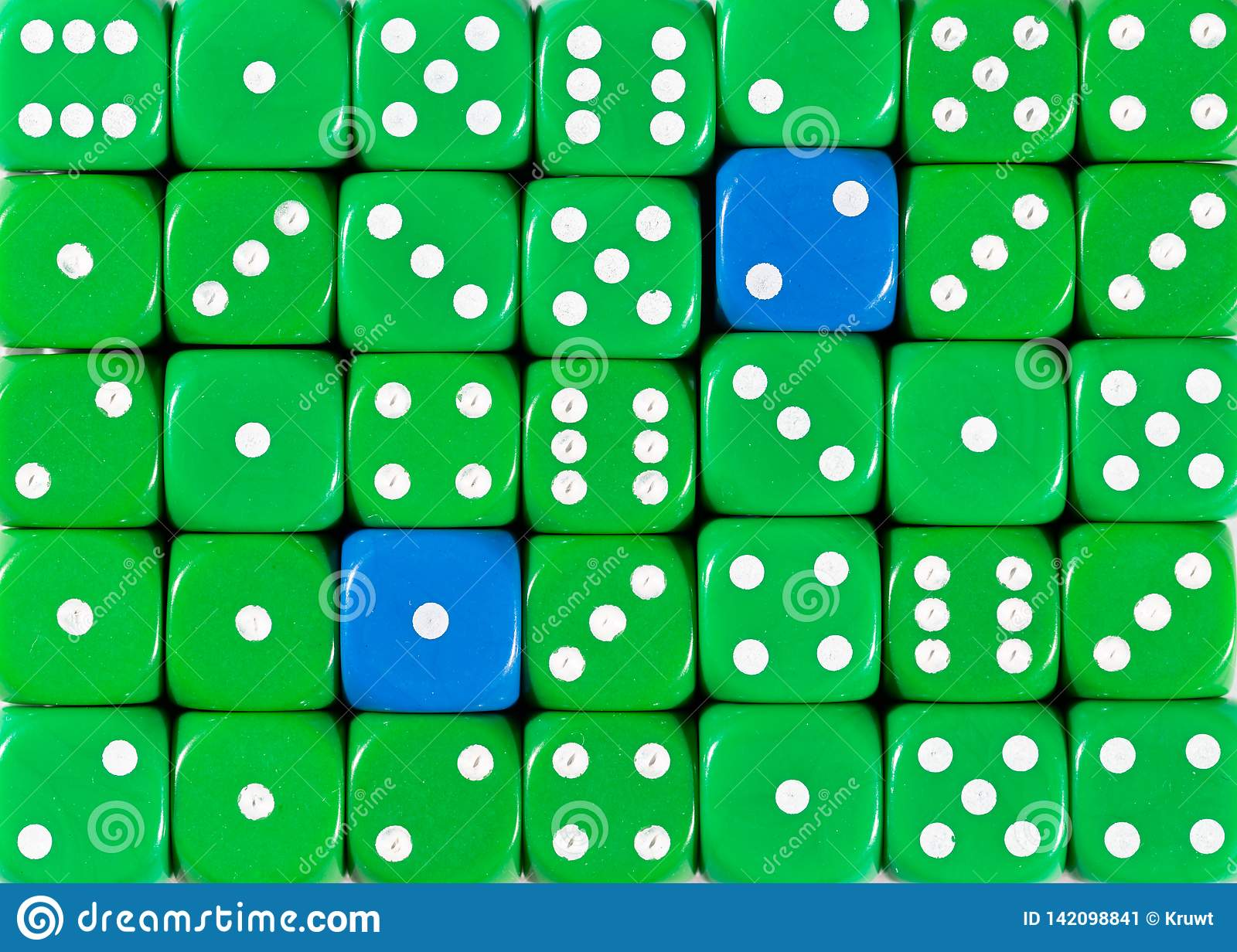 Background of random ordered green dices with two blue cubes