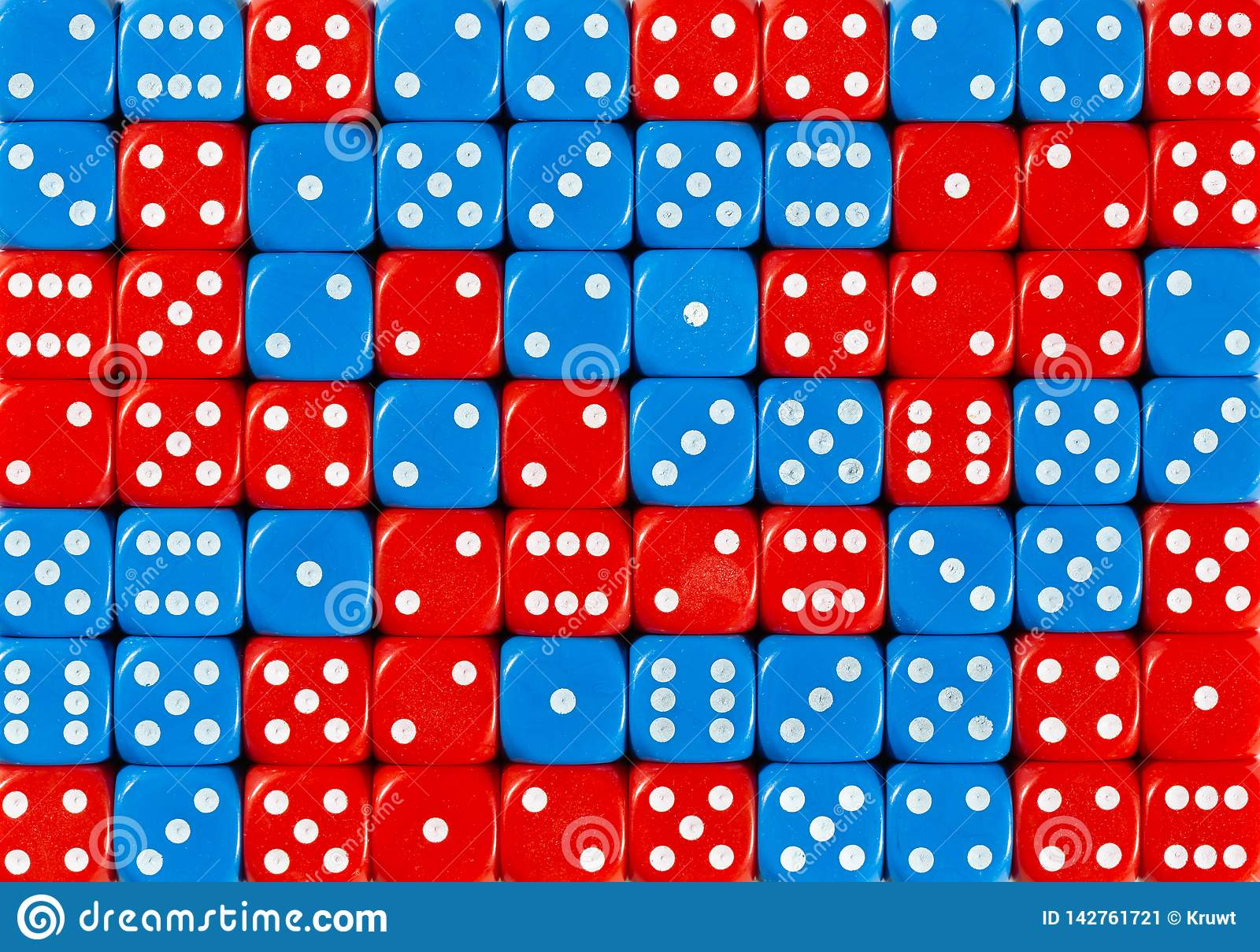 Background of 70 random ordered red and blue dices