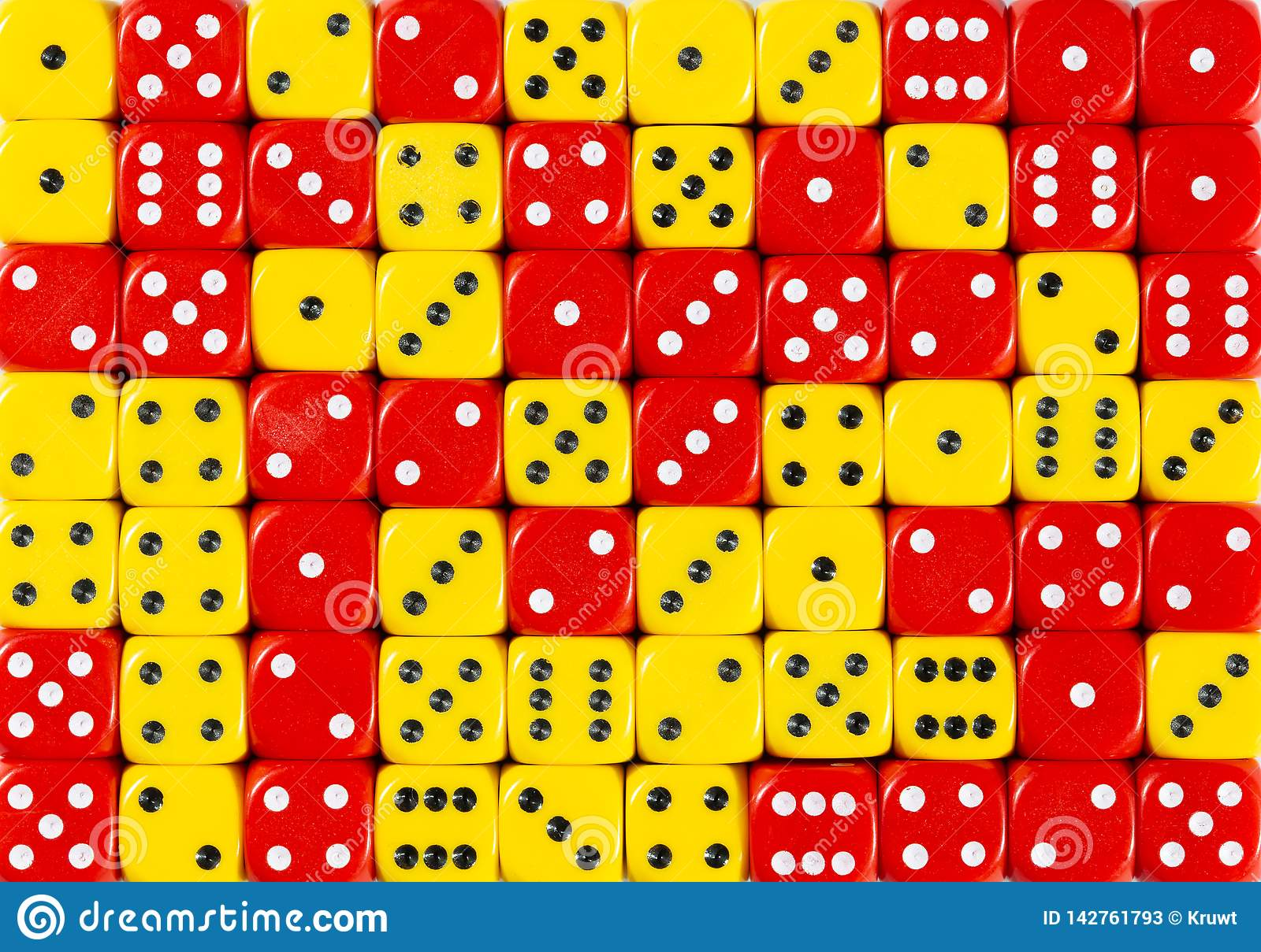 Background of 70 random ordered red and yellow dices