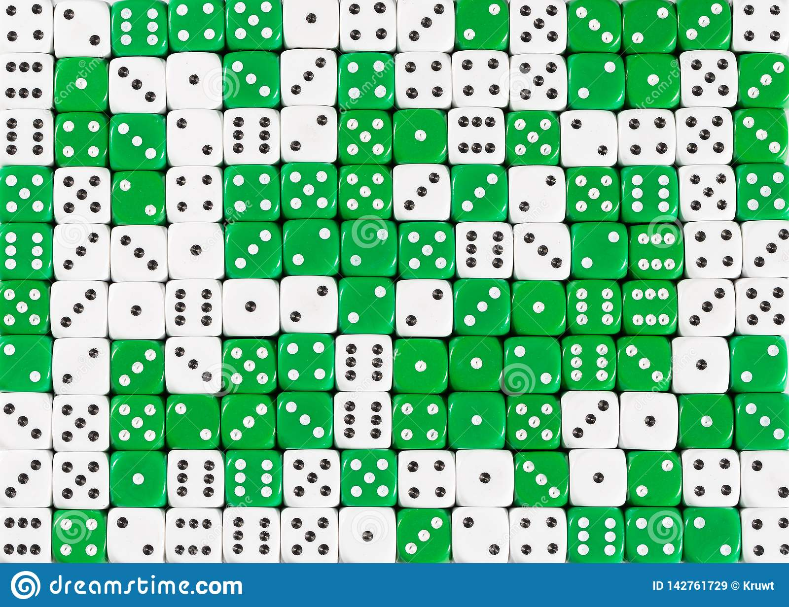 Background of 140 random ordered white and green dices