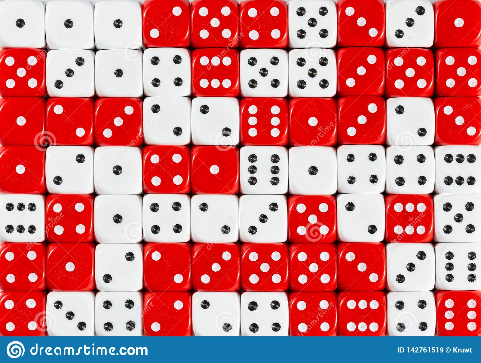 Background of 70 random ordered white and red dices