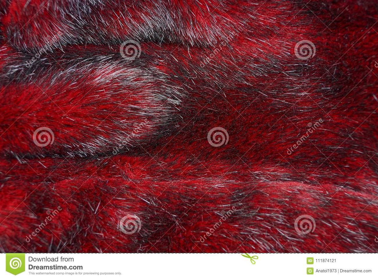 Texture of red fur on a piece of clothing