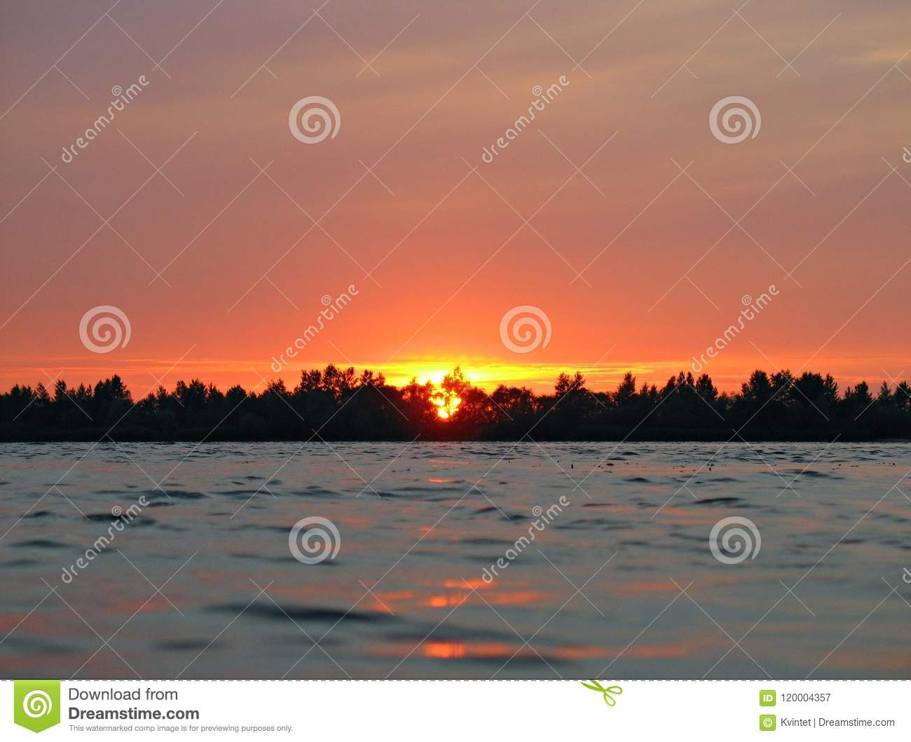 Background Of Red Sunset At Water With Skyline Of Trees Stock Image Image Of Natural Scenic 120004357