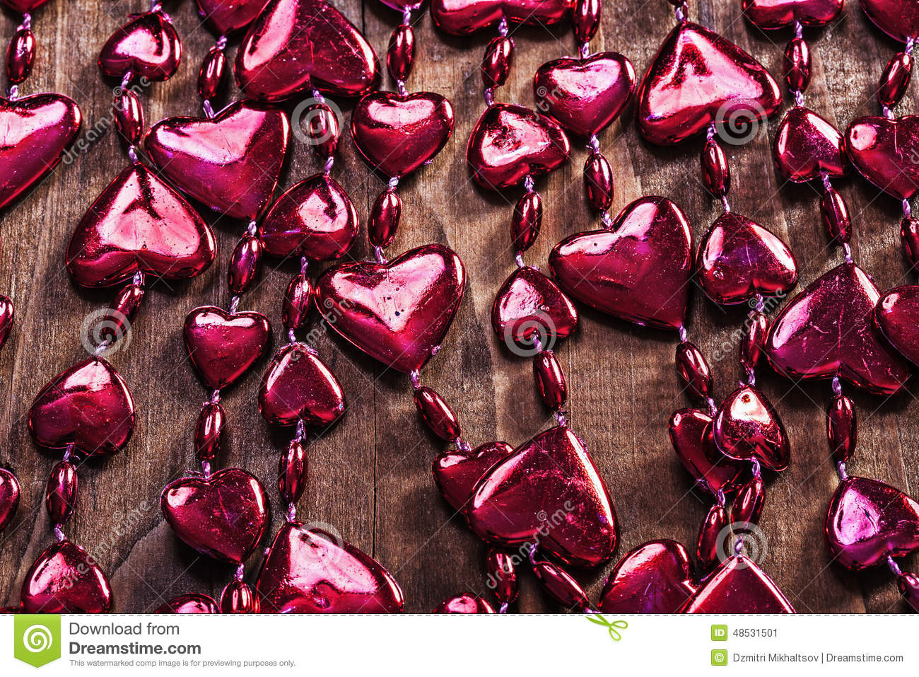 Background Red Valentines Beads Garland On Old Wooden Board Hor Stock Image Image Of Ideas Bead 48531501