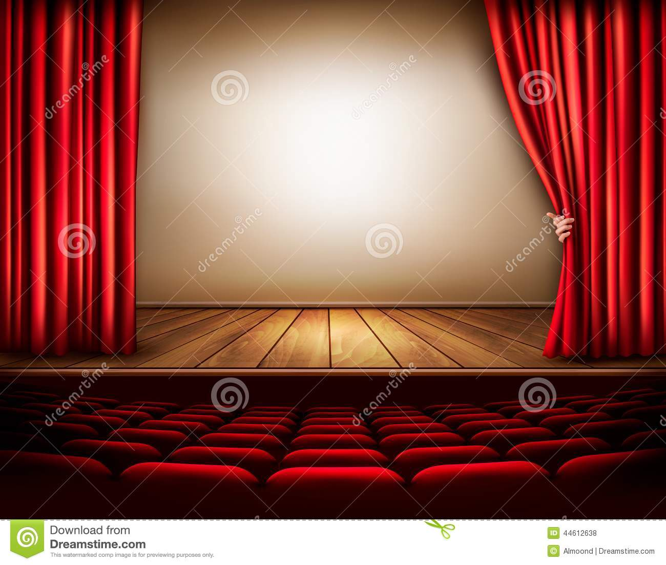 Velvet curtain club - Background With Red Velvet Curtain And Hand Royalty Free Stock Photos