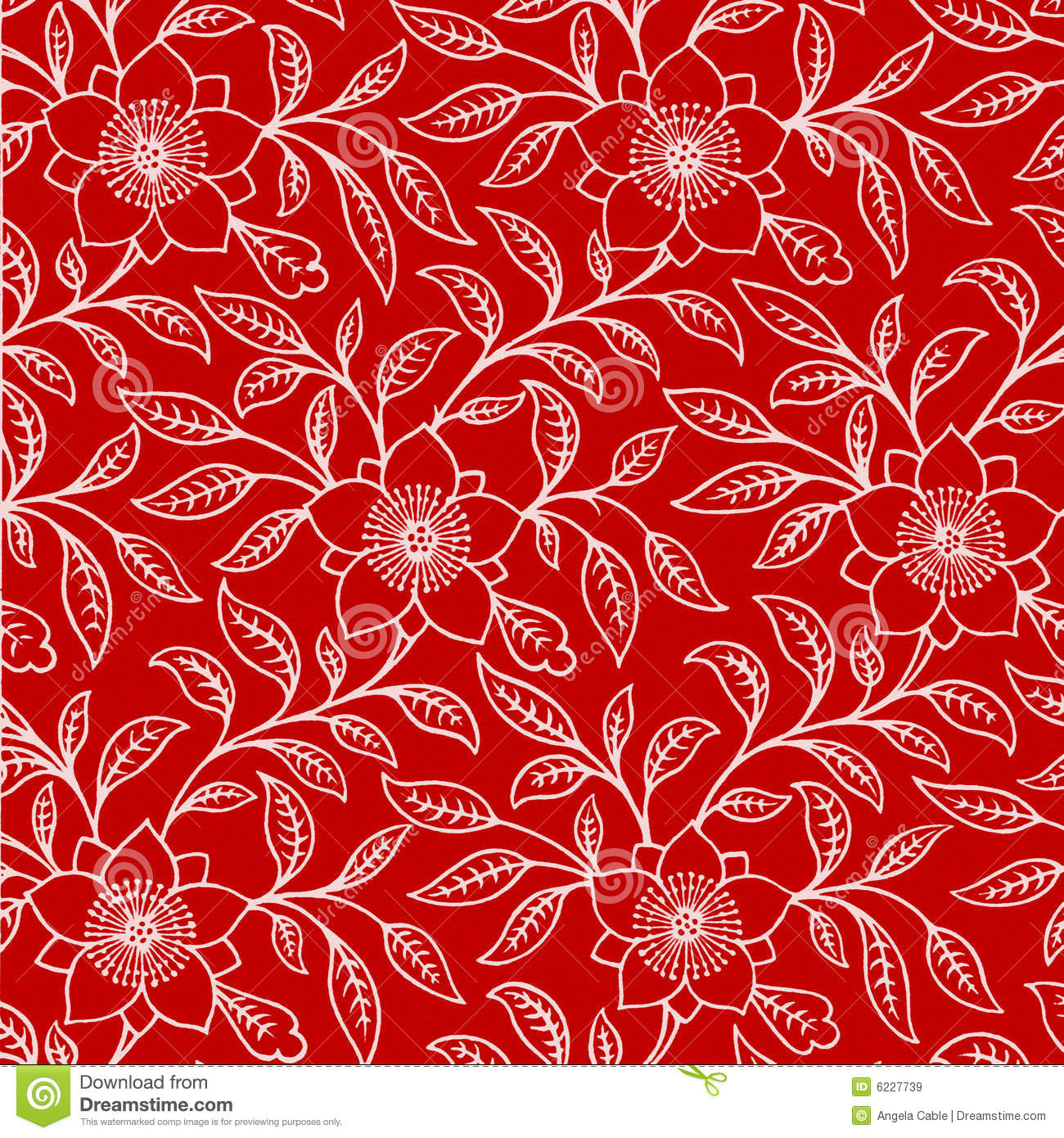 Background Red White Floral Stock Illustration