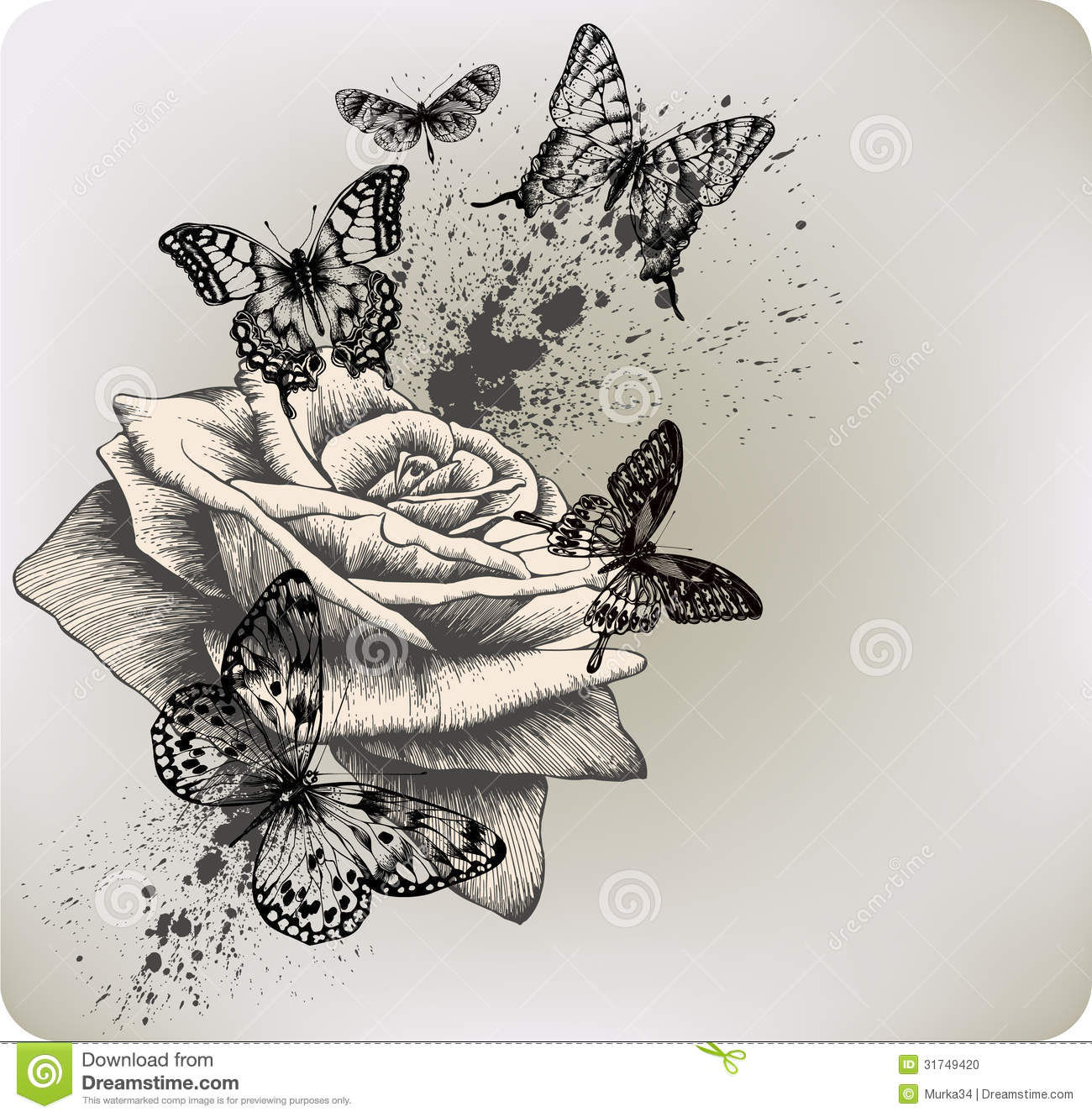 Background With Rose And Butterflies Flying Vecto Stock