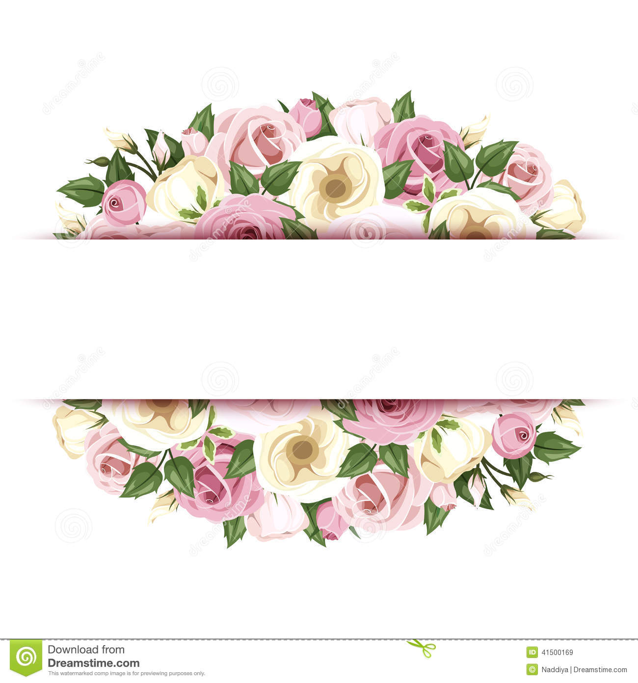 Red flowers border vector stock image - Background With Roses And Lisianthus Flowers Vector Eps