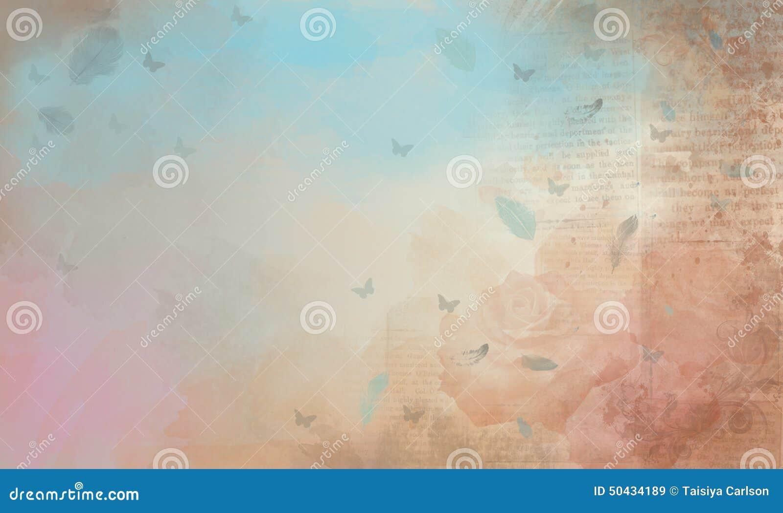 background, roses, old newspaper stock illustration - illustration