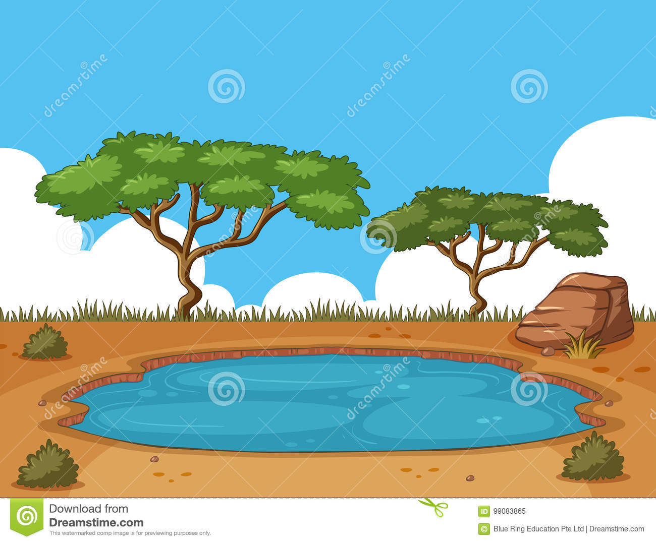 Background Scene With Pond In The Field Stock Vector Illustration