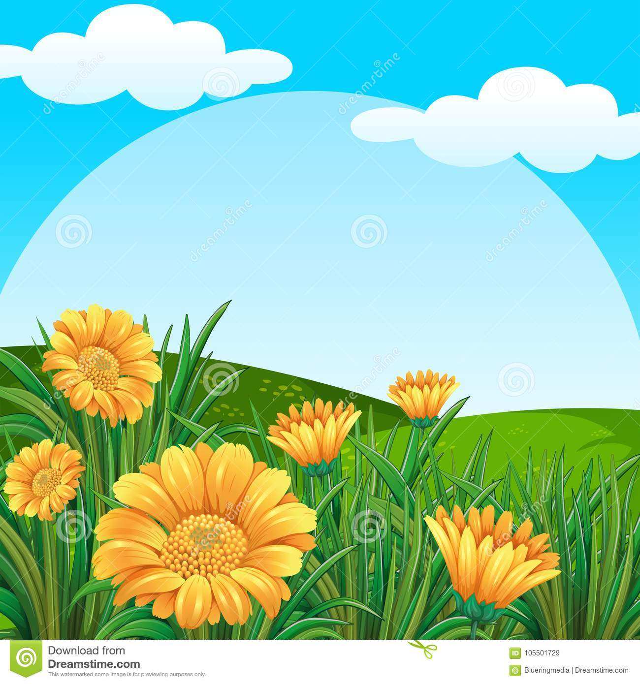 Background Scene With Yellow Flowers In Field Stock Vector