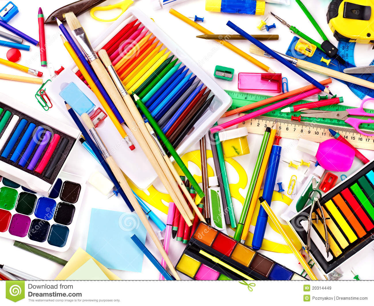 background of school supplies royalty free stock images