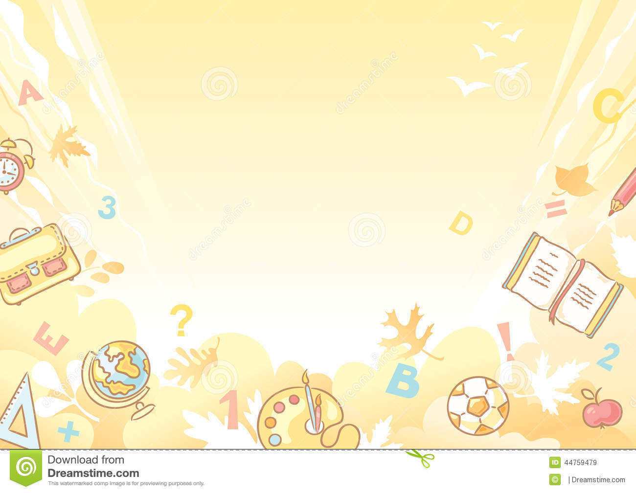 Stock Illustration Background School Things Yellow Image44759479 on Yellow In Preschool