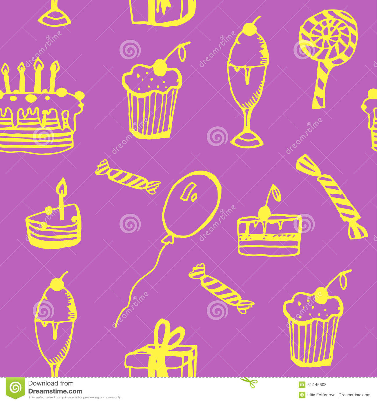 Background Seamless Pattern Of Birthday With Cake Balloons Gifts And Candy Illustration