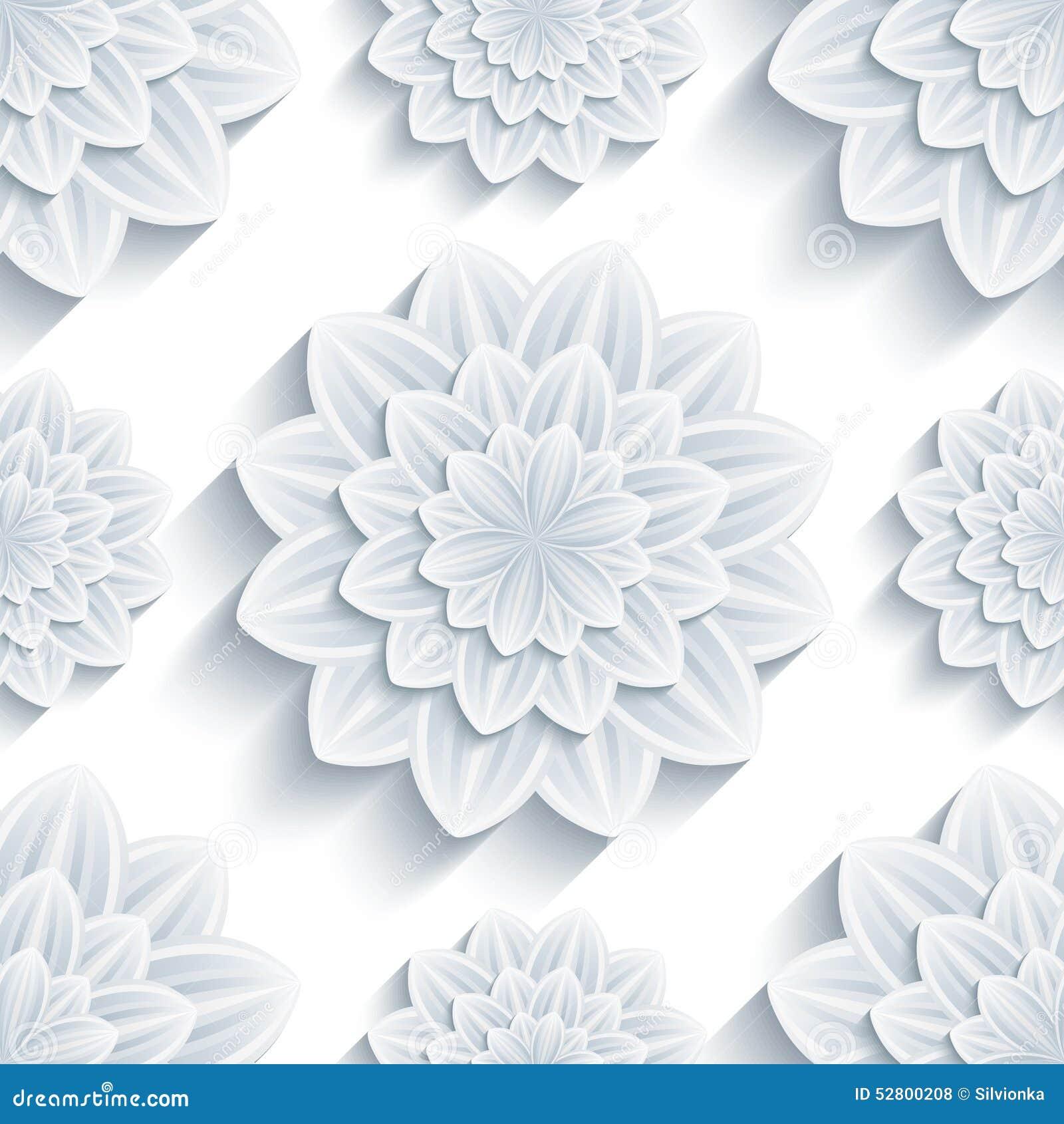 Trendy Wallpaper: Background Seamless Pattern With 3d Flower Chrysanthemum