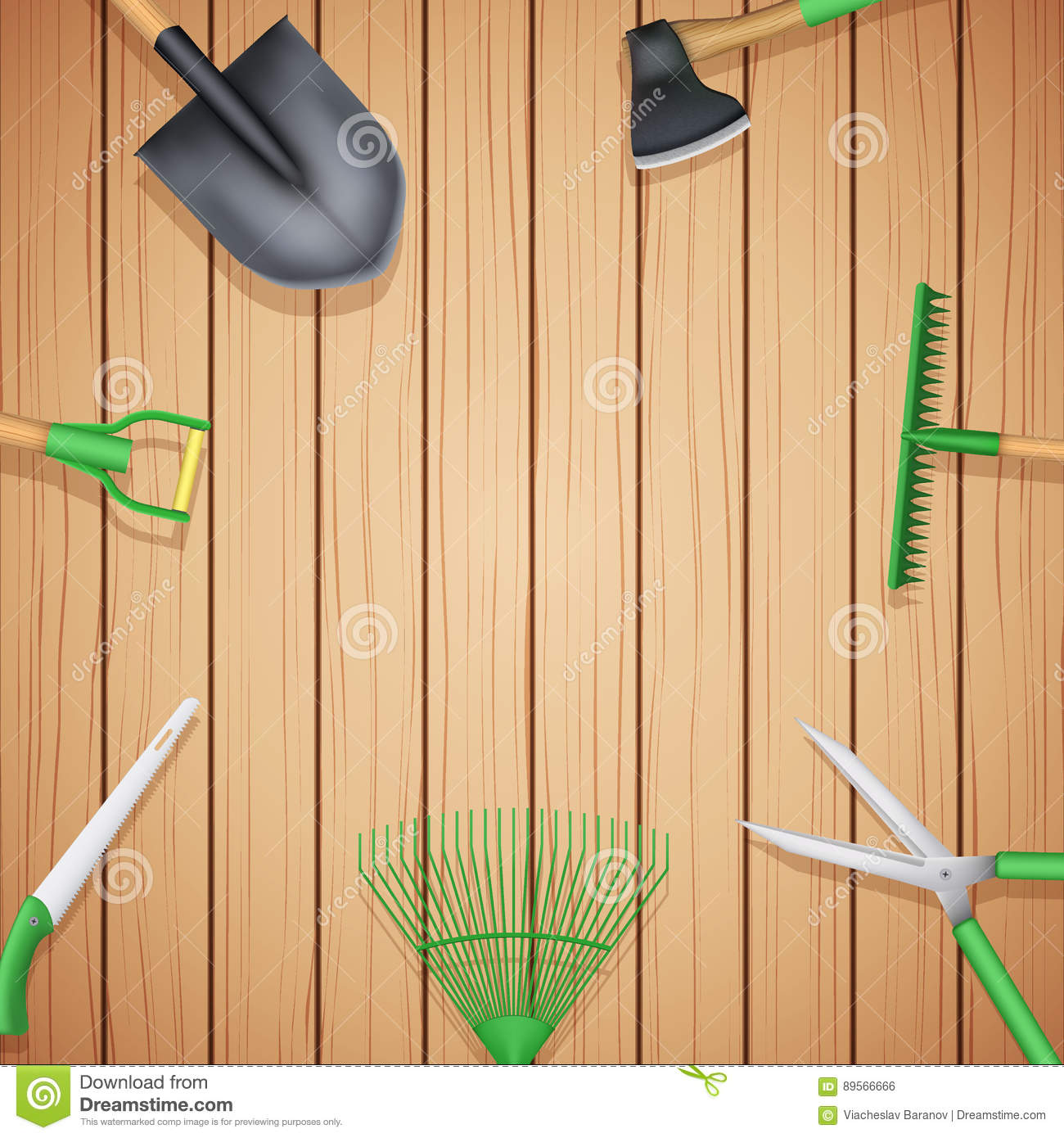 Background Of Season Garden Tools Stock Illustration Illustration