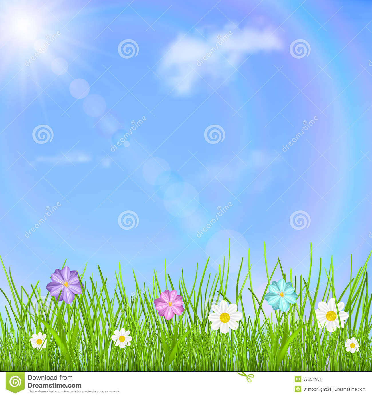 Background with sky, sun, clouds, rainbow, grass and flowers