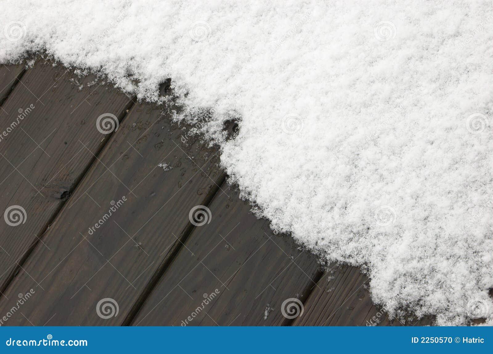 Background:snow on wooden deck