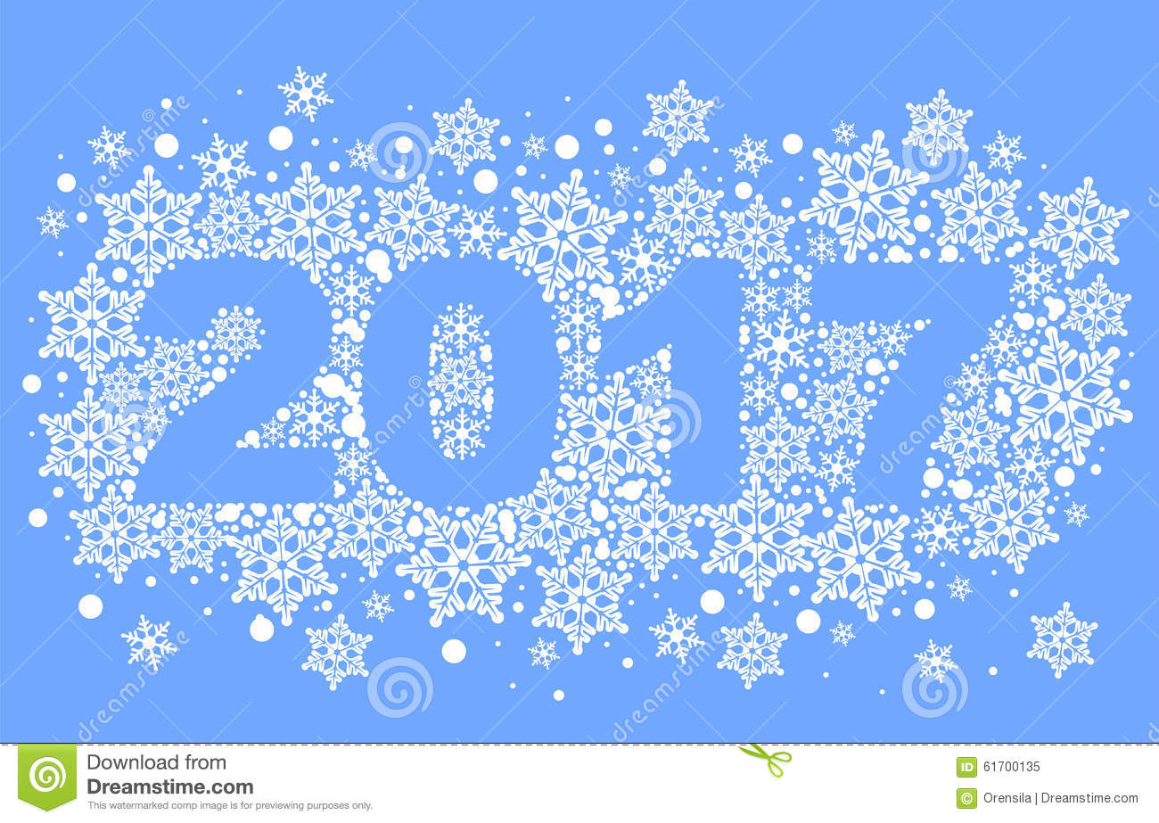 2017 Background Of Snowflakes. Number Text Of Symbol Year Stock Vector ...