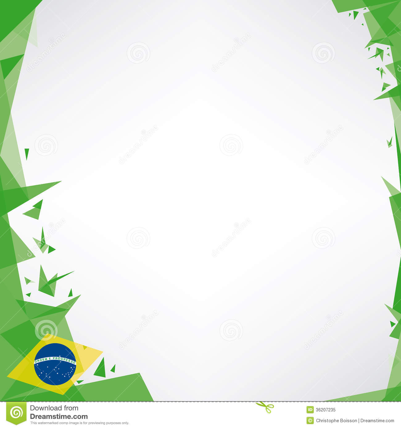 Background Square Origami Of Brazil Royalty Free Stock