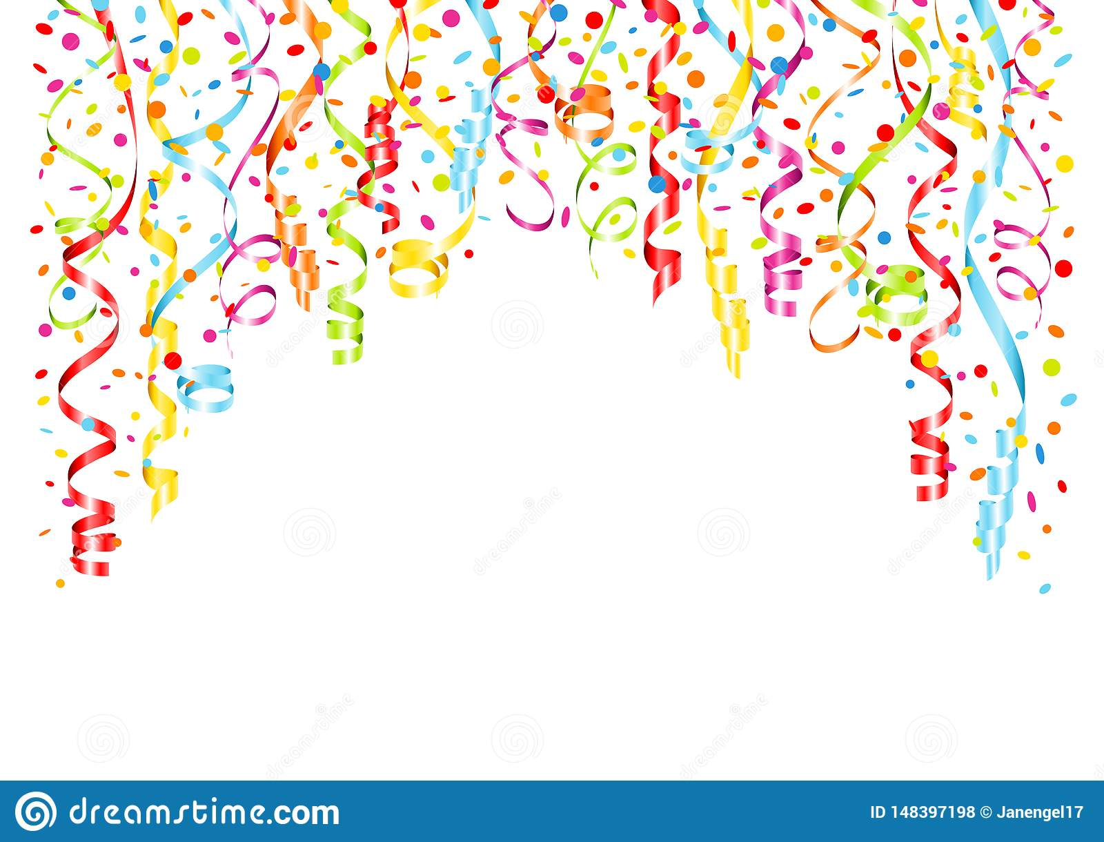 Background Streamers And Confetti Horizontal