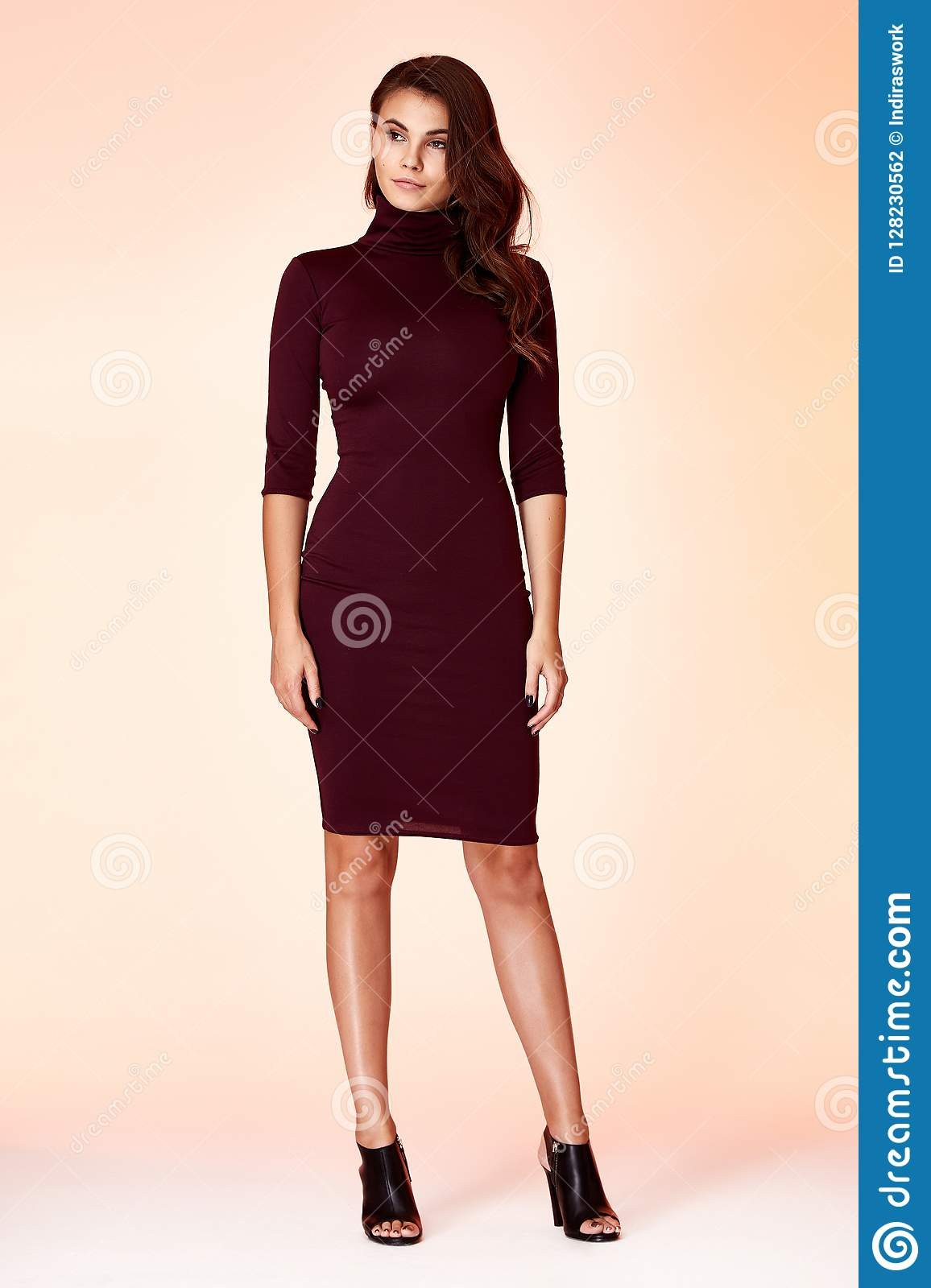 ac44829c13 Background studio beautiful woman lady spring autumn collection glamor  model fashion clothes wear casual style for office business uniform dress  pretty face ...