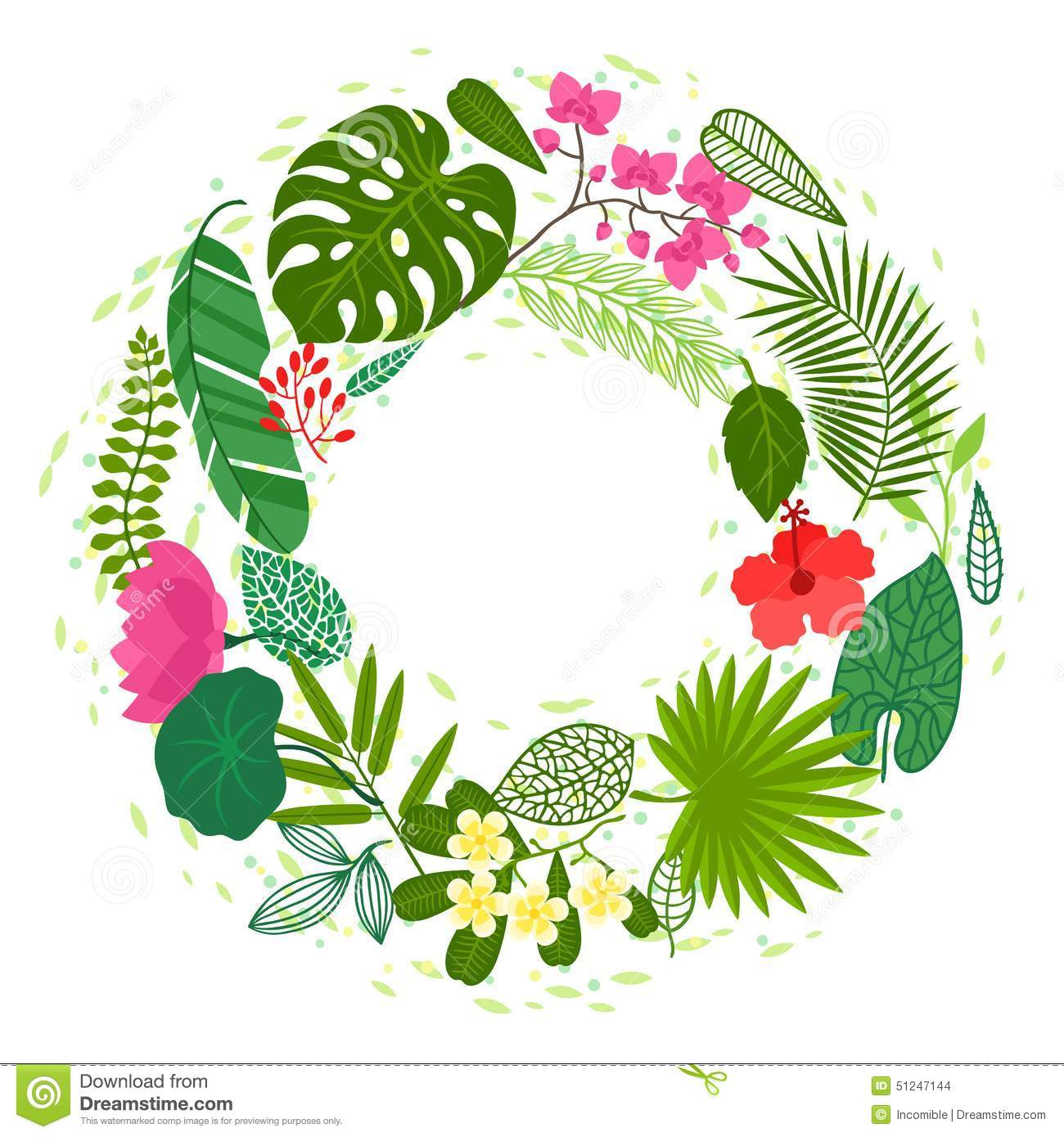 Stock Illustration Background Stylized Tropical Plants Leaves Flowers Image51247144 on bamboo orchid