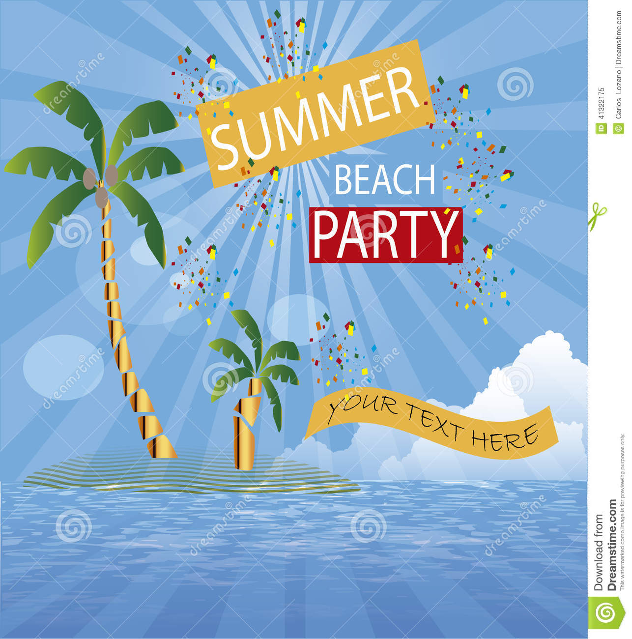 Party Island Beach: Background Surf Sommer Party Island Stock Vector